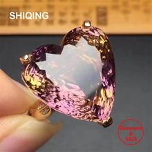 SHIQING Nature Ametrine genuine gemstone big silver heart ring for women as gift