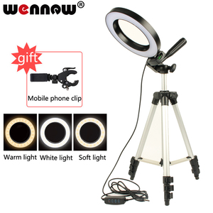 Image 1 - LED Studio Camera Ring Light Photography Photo Tripod USB Plug Make up lamp for women dresser lamp youtube video Selfie light