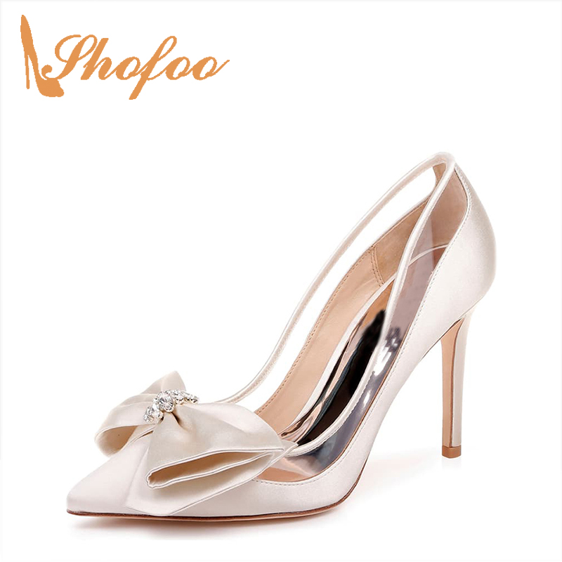 Sweet Nude Butterfly-Knot Pointy Toe Pumps Woman High Stilettos Thin Heels Satin Large Size 11 14 For Ladies Wedding Shoes 2019Sweet Nude Butterfly-Knot Pointy Toe Pumps Woman High Stilettos Thin Heels Satin Large Size 11 14 For Ladies Wedding Shoes 2019