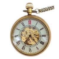 20 штук оптовая продажа Золотой Мода Дизайн стимпанк Римский циферблат Windup Механические Мужские Для женщин Карманный Брелок часы цепочкой б