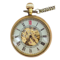20 шт. оптовая продажа Золотой Модный дизайн стимпанк Римский циферблат Windup Механические мужские женские карманные брелок часы цепь бесплат