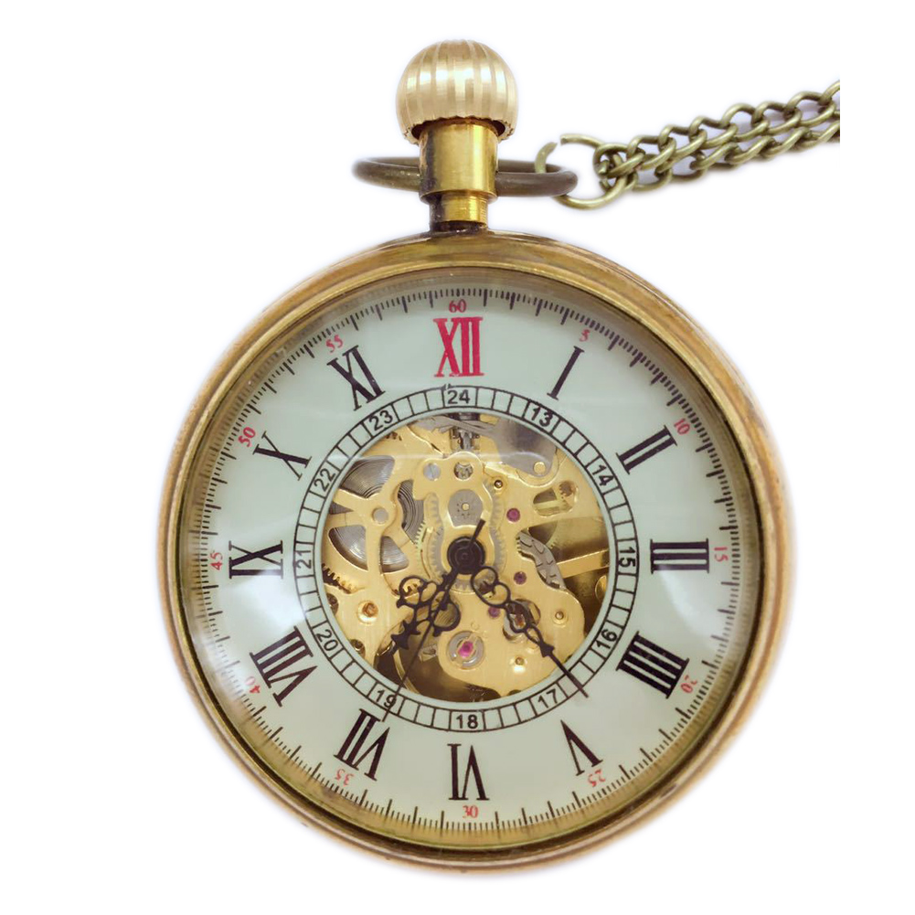 20pcs Wholesale Golden Fashion Design Steampunk Roman Dial Windup Mechanical Mens Women Pocket FOB Watch Chain Free Shipping