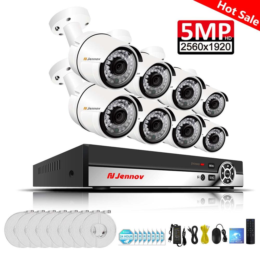 Einnov 8CH 5MP Home Security Camera System Video Surveillance Kit POE CCTV H 265 NVR Set