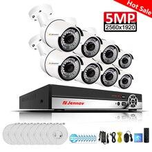 Einnov 8CH 5MP охранных Камера Системы комплект видеонаблюдения POE CCTV H.265 сетевое записывающее устройство в комплекте открытый Водонепроницаемый ИК-HDD красный свет