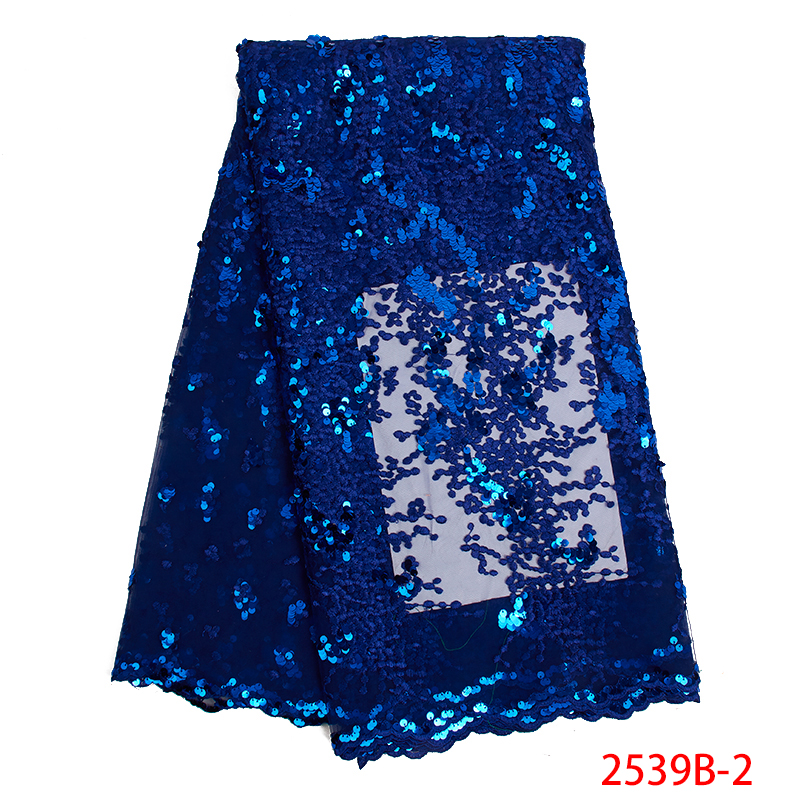 Hot Sale African Lace Fabric High Quality French Tulle Lace Embroidery With Sequins Nigerian Net Laces Fabrics KS2539B-2