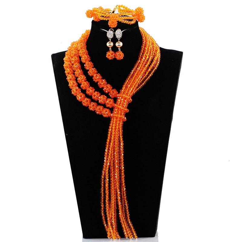 Bijoux orange perles boules déclaration collier ensemble africain demoiselle d'honneur Costume bijoux ensemble pour les femmes livraison gratuite JB084