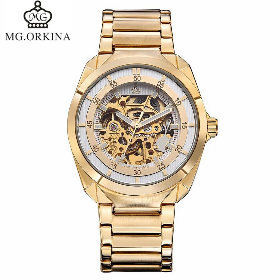 ФОТО 2017 MG.Orkina Luxury Montre Homme Watches Mens See Througth Auto Mechanical Watch Wristwatch Gift Box Free Ship
