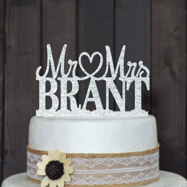 Custom Wedding Cake Topper Personalized Acrylic Silver Glitter Party Decoration
