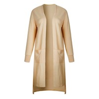 Autumn Open Stitch Pocket Female Sweater Solid Long Sleeve Loose Cardigans Knee Length Coat