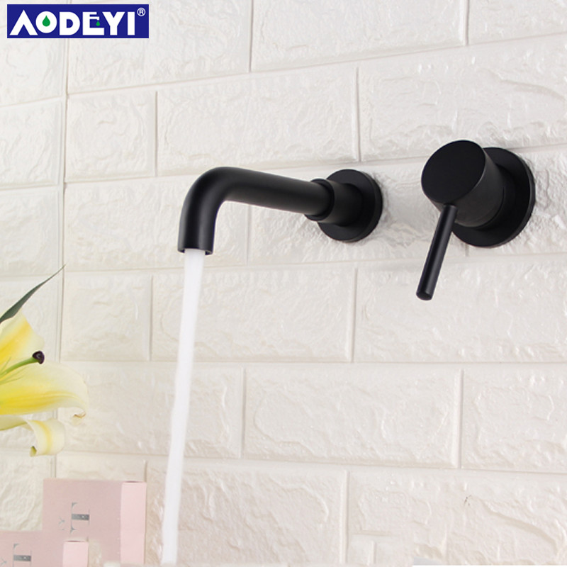 AODEYI Widespread Brass Bathroom Basin Faucet Hot and Cold Mixer Tap Wall Mounted Single Handle Lavatory Taps 12 050