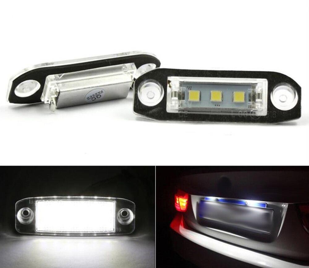 2Pcs LED Licence Plate Light For Volvo S80 XC90 S40 V60 XC60 S60 C70 V50 XC70 V70 купить шаровую на volvo s80 неоригинал