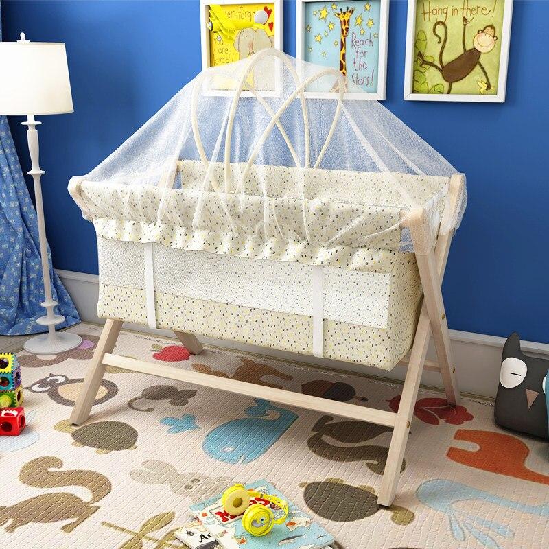 Nature bois lit bébé berceau bébé lit petit lit à bascule multi-fonction lit enfant moustiquaire cadeau gratuit pli facile