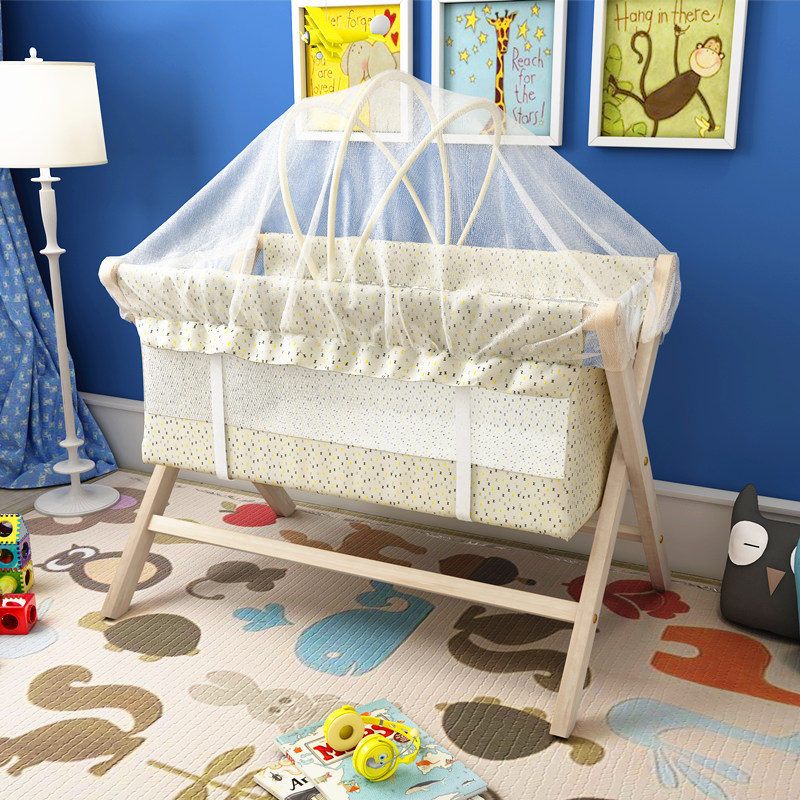 Nature Wood  Baby Crib Baby Cradle Bed  Small Rocking Bed Multi-function Children's Bed Mosquito Net Free Gift Easy Fold