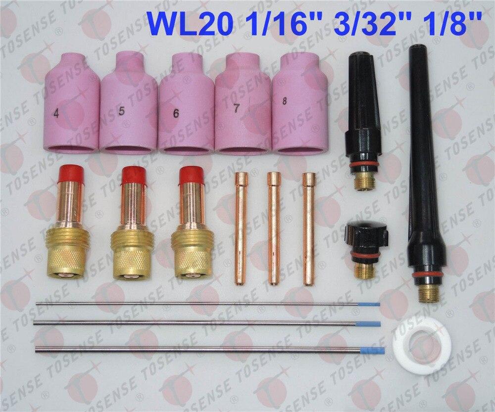 18 pcs TIG Welding Torch Gas Lens Kit WP-17 WP-18 WP-26 WL20 1/16 3/32 1/8 26pcs tig welding torch gas lens wl20 kit for tig wp 17 18 26 welding accessories