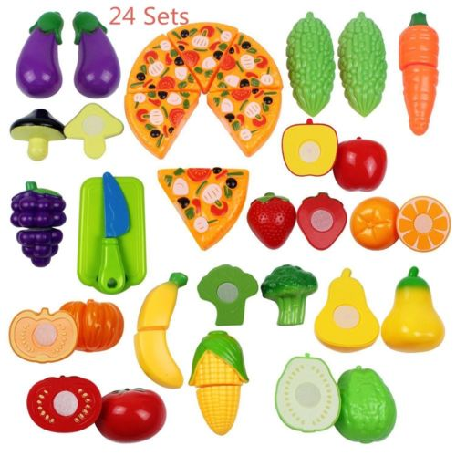 Hot Fruit Role Play Fruit Vegetable Food Cutting Sets Reusable Pretend Kitchen Toys
