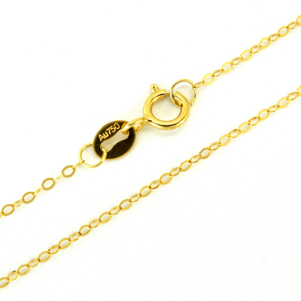 RINYIN Genuine 18K Yellow Gold Necklace Pure AU750 Cute Rolo Chain 1mm Width 16 - 36 Inches
