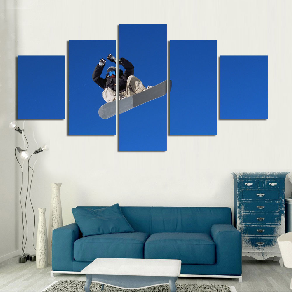 5Pcs/Set Living room home wall modern decoration canvas fabric poster print skiing extreme sports photo art snow world