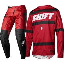 2018 SHIFT 3LACK LABEL Strike Nero Rosso completo motocross enduro maglia + pantalone Offroad Motocross Kit Motocross Suit