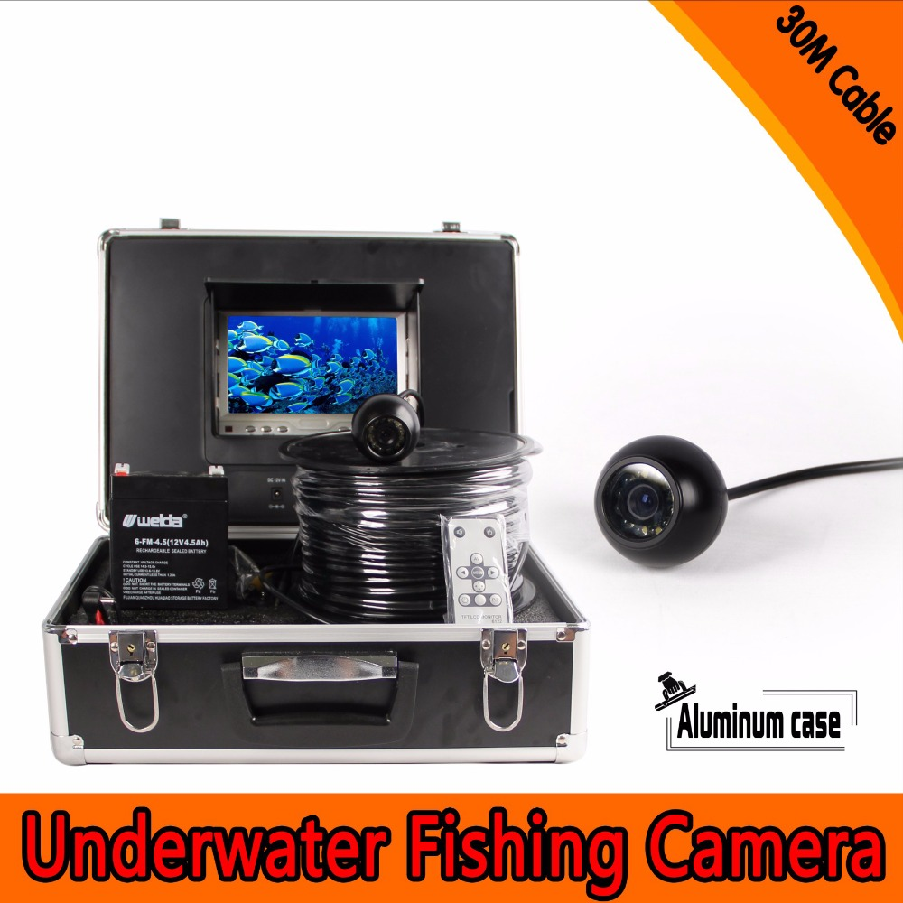 (1 Set) 30M Cable Underwater Fishing Camera System HD 700TVL line 7 inch color display Night version Waterproof Fish Finder 1 set 50m cable 360 degree rotative camera with 7inch tft lcd display and hd 1000 tvl line underwater fishing camera system
