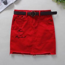 MISUN 2019 Summer Red Jeans Skirts Womens Embroidery Skinny Above Knee Mini
