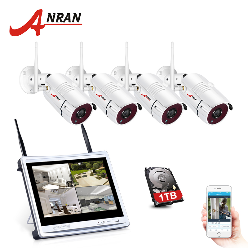 "ANRAN 4CH Wifi CCTV Camera System 12"" LCD NVR Kit 1080P HD Night Vision Surveillance IP Camera Outdoor Security Camera System-in Surveillance System from Security & Protection"