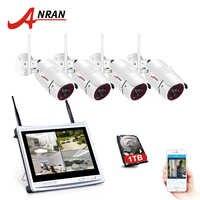 ANRAN 4CH Wifi CCTV Camera System 12 LCD NVR Kit 1080P HD Night Vision Surveillance IP Camera Outdoor Security Camera System