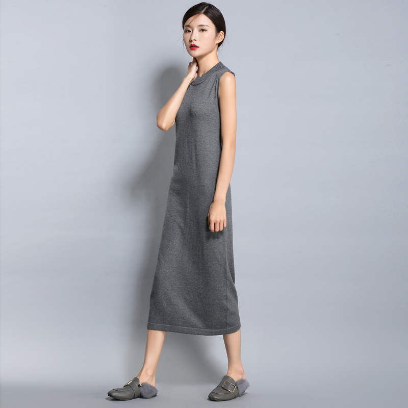 2017 New Casual Women Dresses Summer Sleeveless O-Neck Long Tank Dress Straight Middle-waisted Black Gray Fiber Knitted Dress женское платье dresses dress women 2015 printsleeveless o summer style women dress