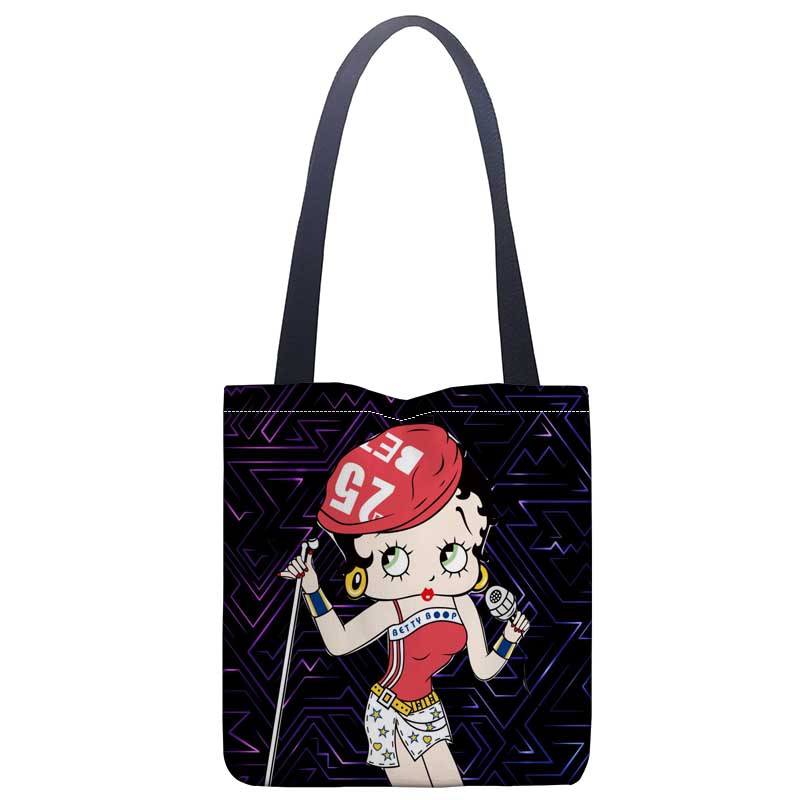 Us 10 53 38 Off New Arrival Bag Betty Boop Handbag Fashion Printing Soft Open Pocket Casual Tote Double Shoulder Strap For Women Student In