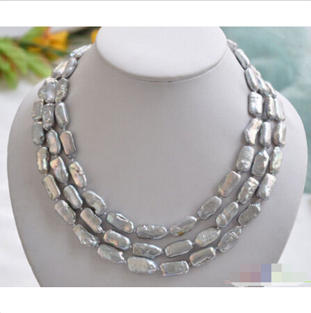 FREE SHIPPING>@@> P4268 3row 18 20mm NATURE GRAY DENS freshwater BIWA pearl necklace ^^^@^Noble style Natural Fine jewe & lower dens lower dens escape from evil