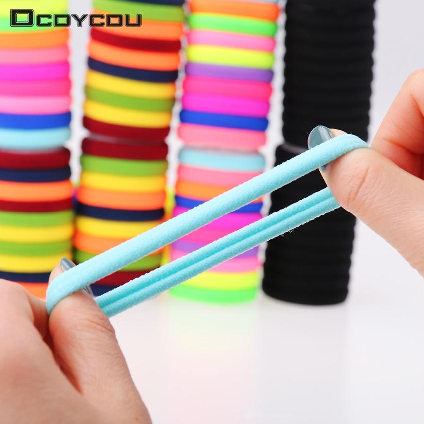 10 pçs/lote Fluorescência Doces Coloridos Titulares De Alta Qualidade de Borracha Faixas de Cabelo Elásticos Acessórios de Cabelo Menina Mulheres Tie Gum
