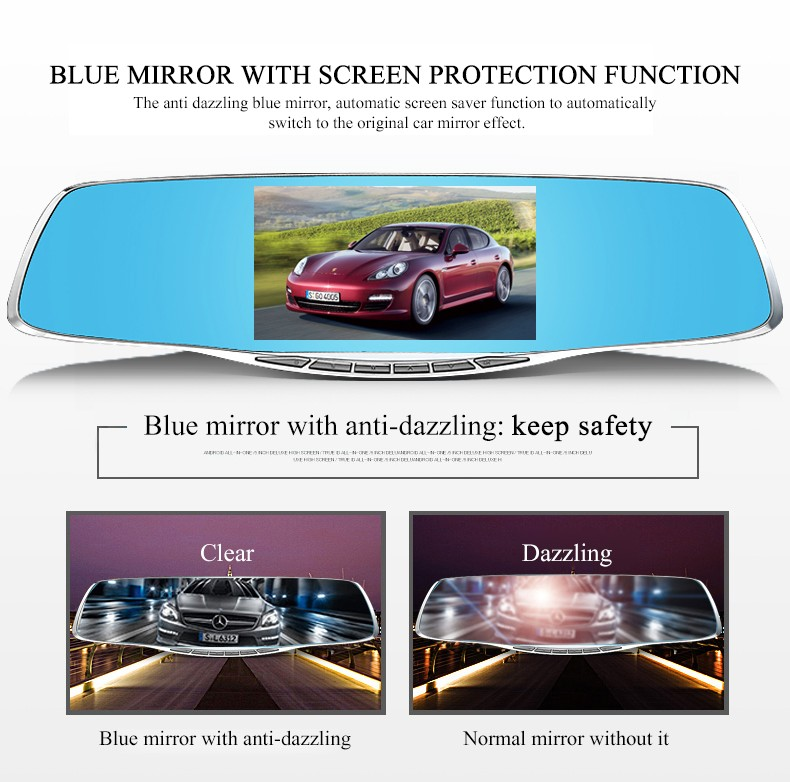 ФОТО Best Dual lens Car dvr Mirror 4.3-inch Full HD 1080P Car Blue Rearview Mirror Camera Dvr Digital Video Recorder Auto Dash Camara
