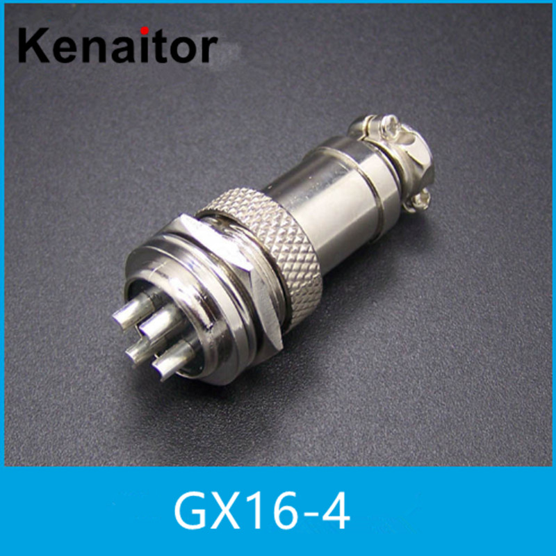 <font><b>GX16</b></font> 4 Pin <font><b>Male</b></font> & Female 1pairs(2pcs) Wire Panel Connector <font><b>GX16</b></font> Circular Connector Aviation Socket Plug Free Shipping image