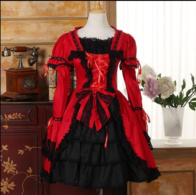 2017 nouvelle mode Lolita robe COSPLAY gothique robe à manches longues robes pour les femmes