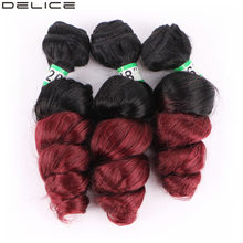 Delice Ombre Blonde Bug Red Loose Wave Hair Weaving Heat Resistant Synthetic Hair Extensions Weave Hair Pieces For Women(China)