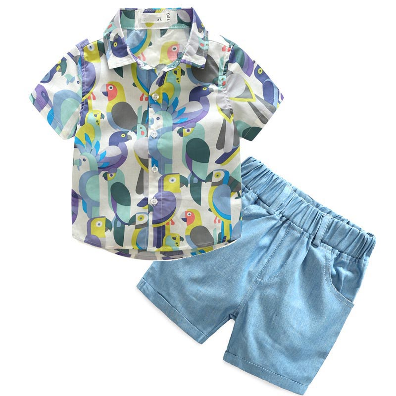 Kids Boys Clothes Children Clothing Sets Summer Cotton Short-Sleeved Printed Shirt + Cotton Shorts Suit Costume 3-7Y
