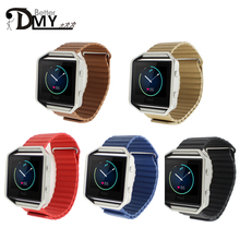 1:1 Genuine Leather fashion Magnetic Closure Band & Leather Loop strap for Fitbit Blaze Smart watch watchband