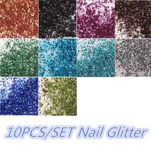 10Pcs/set DIY  Nail Art Glitter Powder For UV GEL Shining Acrylic Decoration Tips