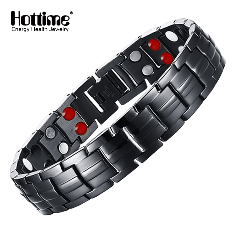 Hottime Double Row Black Gun Plated Men Health Magnetic Bracelet Titanium Steel Bracelets For Man Magnet Energy Armband 10142