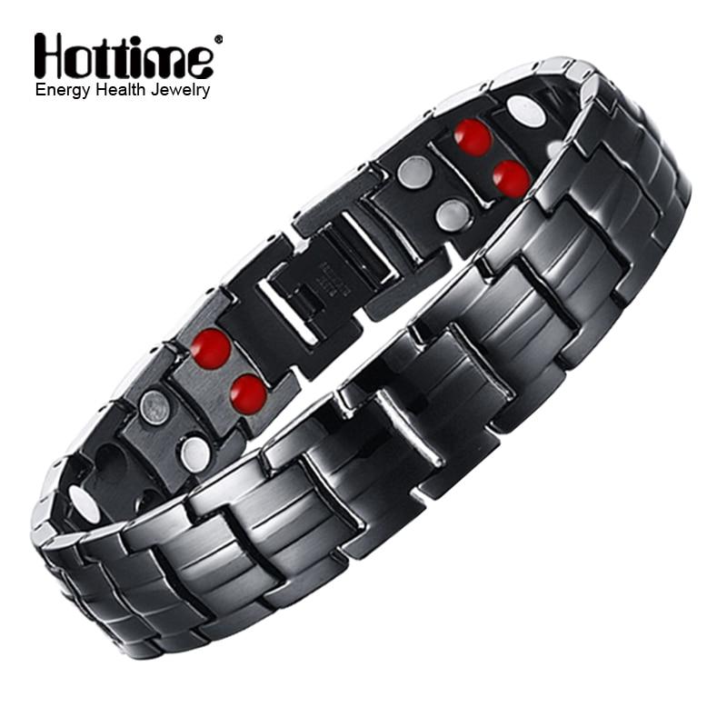 Hottime Double Row Black Gun Plated Men Health Magnetic Bracelet Titanium Steel Bracelets For Man Magnet Energy Armband 10142
