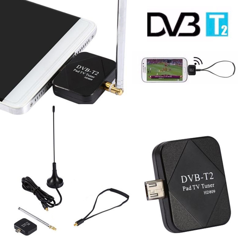 For Android 1pc High Definition DVB-T2 Micro USB Dongle Digital HD TV Tuner Receiver With 2 Antenna Supports DVB-T/T2 Mayitr(China)