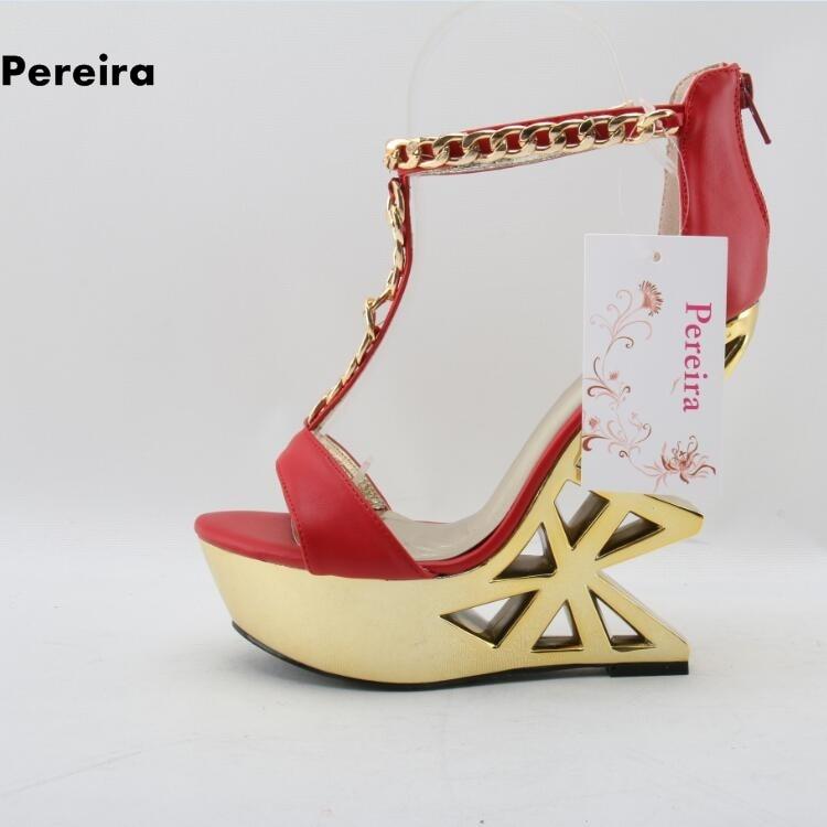 цена Metal chain novetly geometric woman sandals fretwork heel open toe buckle strap woman summer wedding shoes back zipper sandals в интернет-магазинах