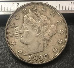 1890 никель liberty США