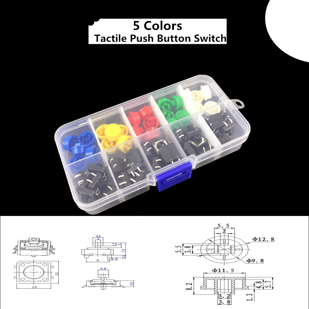5 Colors 12*12*7.3MM Micro Switch Button Tact Cap Tactile Push Button Switch Momentary 25Pcs/Set 100pcs mini micro momentary tactile tact switch push button dip p4