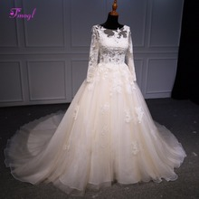 fsuzwel Scoop Neck Long Sleeve A-Line Wedding Dress 2019