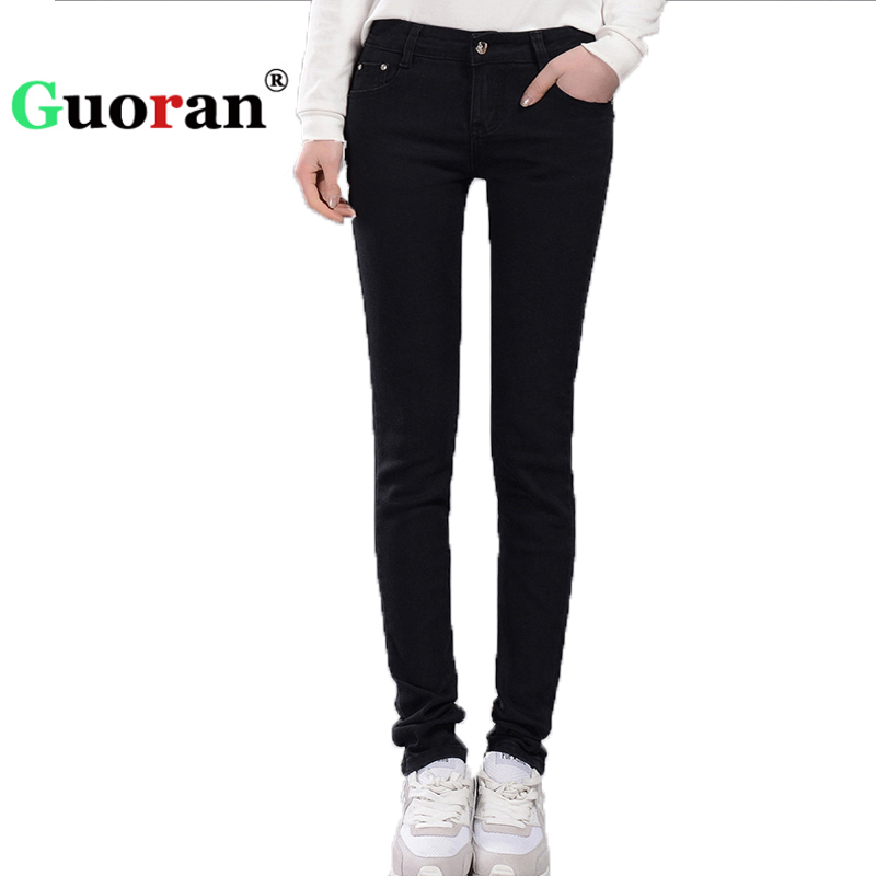 цены  {Guoran} Slim Jeans Pencil Pants Women 2017 New High Waist Stretch Jeans Leggings Plus Size Femme Pantalon Black Blue Denim Pant