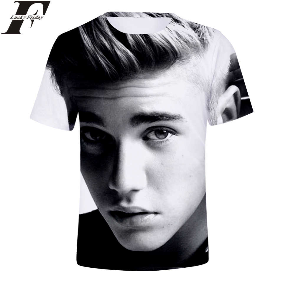 LUCKYFRIDAYF Justin Bieber 3D Short Sleeve T-Shirt Fashion Style T-shirt Short Sleeve Man/Women Clothes Plus Size 4XL