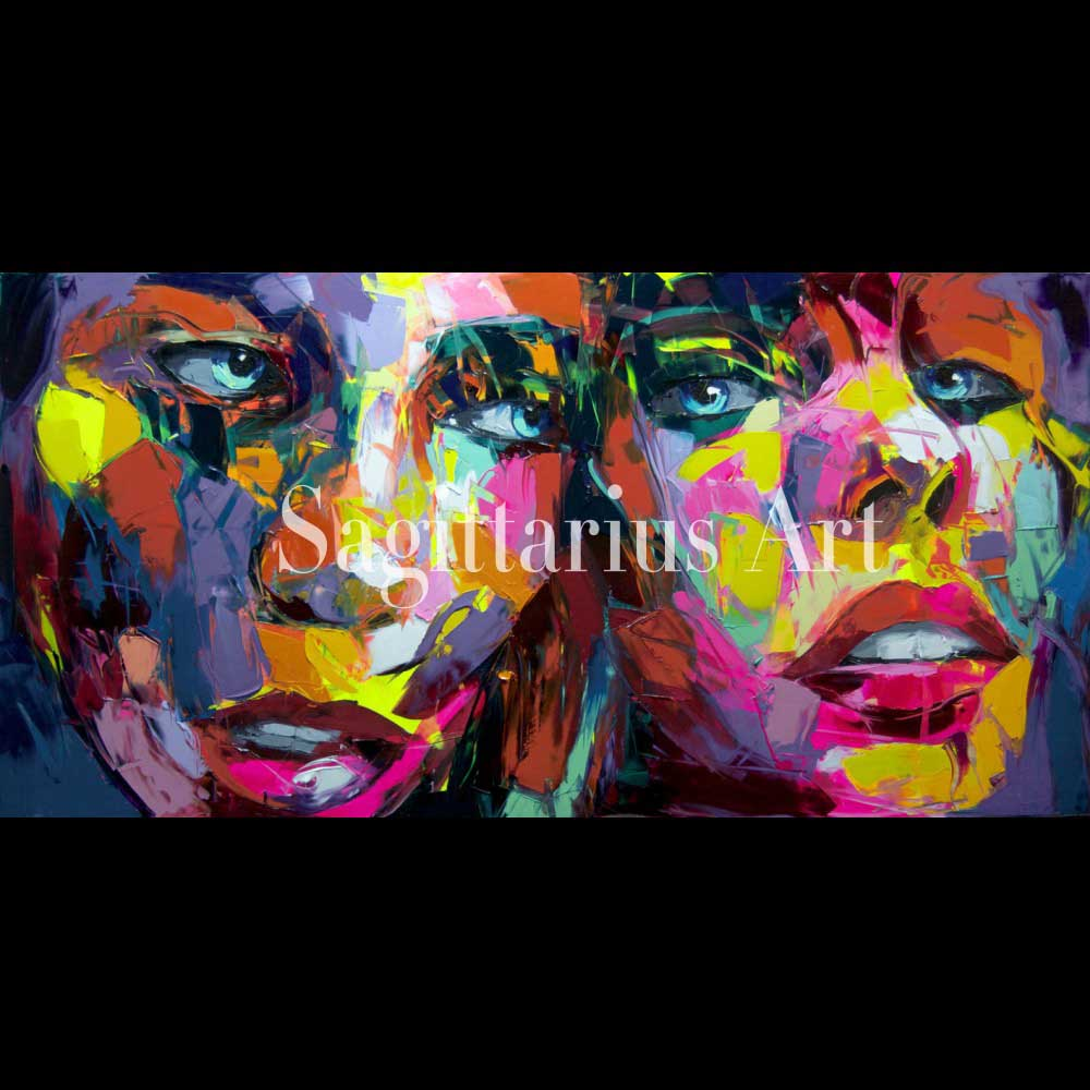 Handmade Modern Abstract Wall Decor Fine Art Francoise Nielly untitled 1 Oil Painting Hand painted Artwork Canvas Painting art
