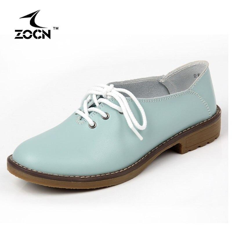ZOCN Auténtica Mujer Zapatos de Cuero Planos Del Ballet de Los Zapatos Oxford Pa