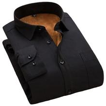 Fashion Winter Mens Shirt Casual Solid Striped Warm Thermal Camicia Brand Black White Blue Blouse Big Size 8XL 7XL 6XL 5XL XXXXL