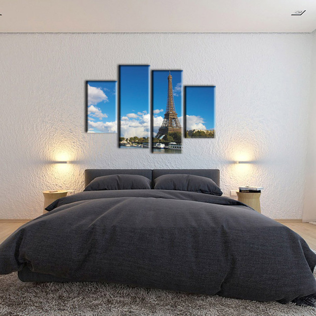 muti panel paris effel tower scenery canvas prints picture modern living room bedroom wall art large - Modern Bedroom Wall Art